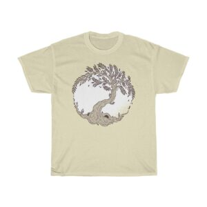 Unisex Heavy Cotton T-Shirt Tree Yin-Yang – Unisex Heavy Cotton Graphic T-Shirt Cool T-Shirts