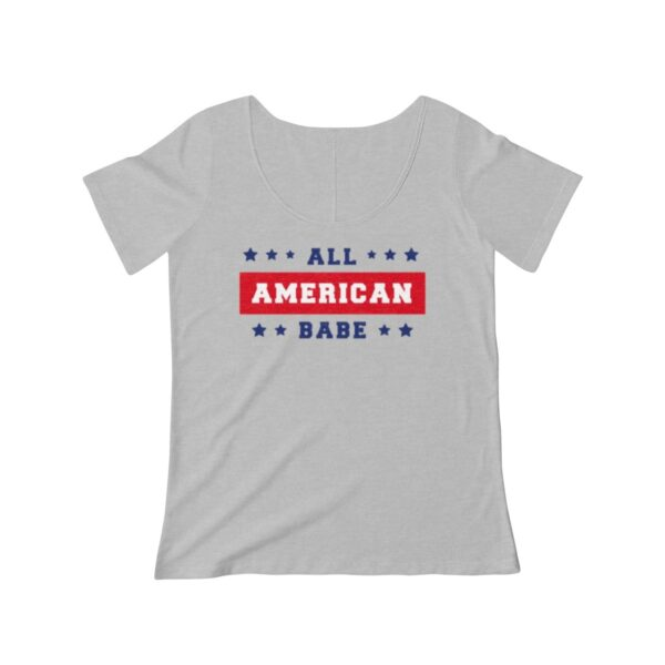 Women's Scoop Neck T-shirt All American Babe – Women's Scoop Neck Custom T-shirt Cool T-Shirts