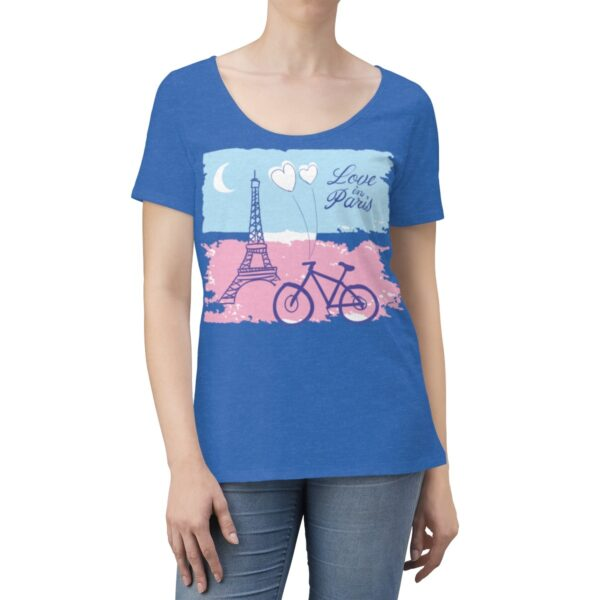 Women's Scoop Neck T-shirt Love In Paris – Women's Scoop Neck Cute T-shirt Art T-Shirts