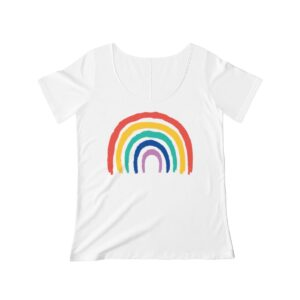 Women's Scoop Neck T-shirt Rainbow – Women's Scoop Neck Cute T-shirt Art T-Shirts