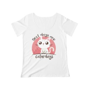 Women's Scoop Neck T-shirt My Best Days Are Caturdays – Women's Scoop Neck Cute T-shirt Cute T-Shirts