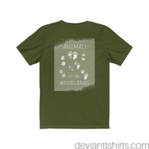 Animals Of The Woodlands – Print On Back Jersey Tee Grunge Nature T-Shirt