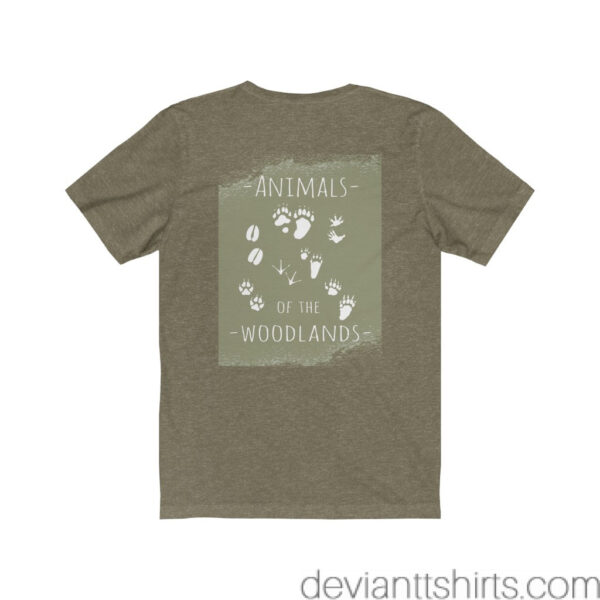 Animals Of The Woodlands – Print On Back Jersey Tee Grunge Nature T-Shirt 14