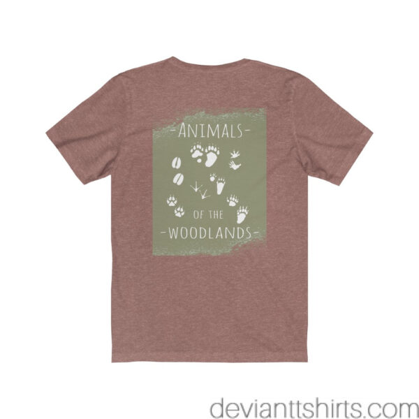 Animals Of The Woodlands – Print On Back Jersey Tee Grunge Nature T-Shirt 8